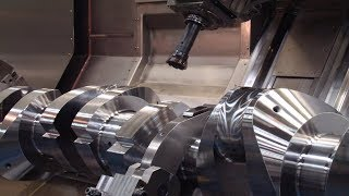 Amazing 2- Cylinders Crankshafts Machining Production Machines, CNC Lathe Machine Operation