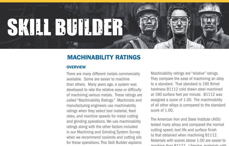 Machinability rating
