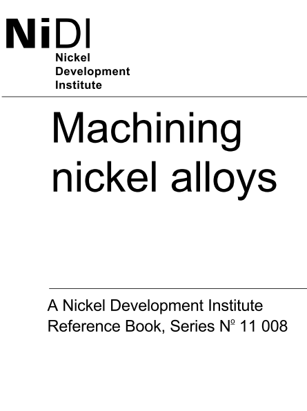 Machining Ni Alloys
