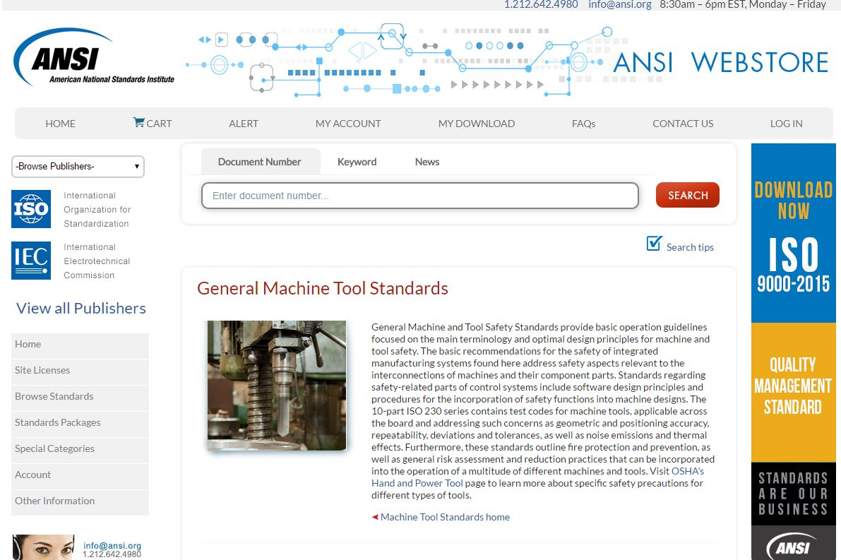 General Machine Tool Standards