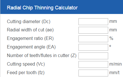 Radial chip thinning calculator for milling