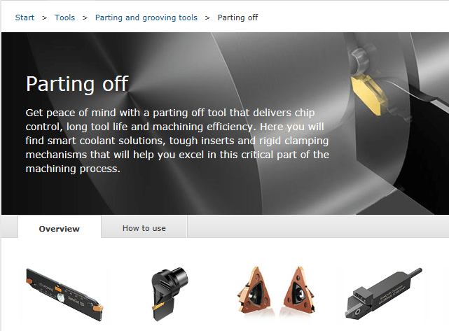Parting off inserts by Sandvik
