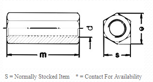 STAINLESS STEEL DIN 6334 COUPLING NUT