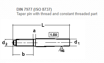 DIN 7977 Taper Pin with Thread and Constant Threaded Part