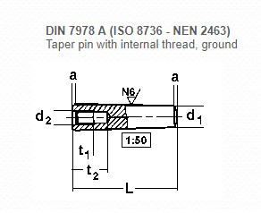 DIN 7978 A Taper Pin with Internal Thread , Ground